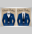 blue business suit template with a black tie and w vector image vector image