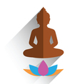 budha sitting on lotus flat design vector image vector image