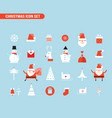christmas and new year icon set holiday santa vector image vector image
