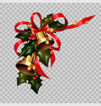christmas decoration gold bells on holly wreath vector image vector image