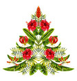 christmas tree made exotic tropic flowers vector image