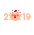colored numbers 2019 with a fat pig and hearts vector image vector image