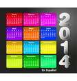 Colorful calendar for 2014 in spanish vector image