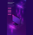 computer with big data stream isometric banner vector image