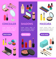 cosmetic products banner vecrtical set isometric vector image vector image