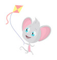 cute grey mouse with a kite stock vector image vector image