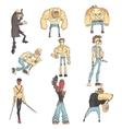 dangerous criminals set of outlined comics style vector image vector image
