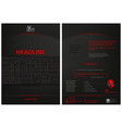 dark leaflet template with abstract decoration vector image