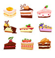 desserts and sweets cakes and pies with berries vector image