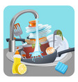 dirty dishes plates and pans in sink under running vector image vector image