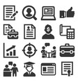 employment and job resume icons set on white vector image vector image