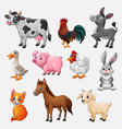 farm animal collection set on white background vector image vector image