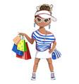fashion girl on shopping vector image vector image