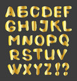 gold alphabet on a dark background vector image vector image
