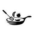 graphic cooking spade frying pan vector image