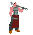 huge muscular mechanic with big wrench on his vector image
