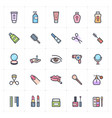 icon set - cosmetic and beauty stroke color vector image vector image