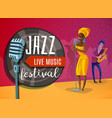 jazz music horizontal poster vector image vector image