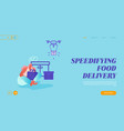 landing page drone transporting package for vector image