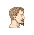 Male Goatee Side View Etching vector image vector image