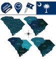 map of south carolina with regions vector image vector image