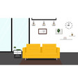 modern livingroom with yellow sofa vector image