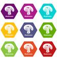 mushroom icons set 9 vector image vector image