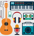Music instruments and sound flat design vector image vector image