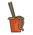 noodles in box with chopsticks chinese food in vector image
