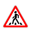 road sign warning crosswalk on white background vector image vector image