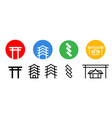 set japanese shrine icon art vector image vector image