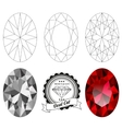 Set of oval cut jewel views vector image vector image