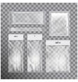 set of transparent foil bag packaging for food vector image vector image