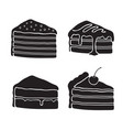 set silhouettes piece cakes vector image vector image
