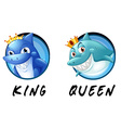 Sharks being king and queen vector image vector image