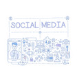 social media set communication in the global vector image