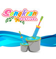 songkran festival in thailand bucket of water and vector image