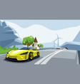 sport car rushes along road with a beautiful vector image
