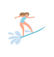 student girl in blue swimwear surfing on ocean vector image vector image
