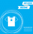 t-shirt icon on a blue background with abstract vector image vector image