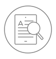 Tablet and magnifying glass line icon vector image vector image