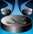 three flying puck leaving a trace behind on a blue vector image vector image