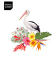 tropical summer design with pelican bird flowers vector image vector image