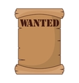 wanted label paper old wild west icon vector image