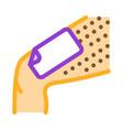 wax stripe leg depilation icon outline vector image vector image