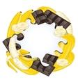 Yogurt splash isolated on chocolate and banana vector image vector image