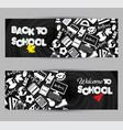 back to school banner set on black board vector image