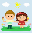 a boy and a girl are standing in a clearing and vector image