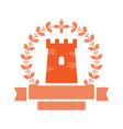 ancient castle emblem with laurel and ribbon