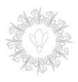 black and white circular spring mandala snowdrop vector image vector image